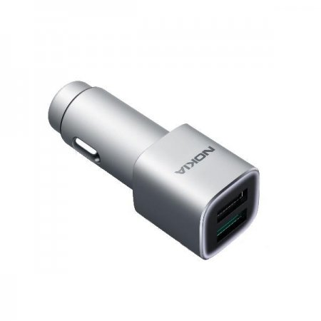 DC-801 Nokia Fast Stylish Mobile Charger 2XUSB Qualcomm 3.0, srebrna (silver)